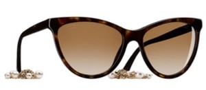 Chanel Chanel Cat Eye Pearl Chain Tortoise sunglasess