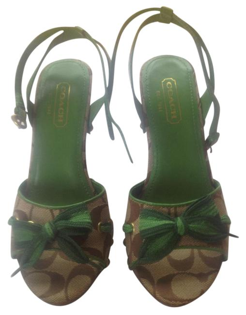 Item - Green and Monogram Betsy Canvas Leather Sandals Size US 5.5 Regular (M, B)