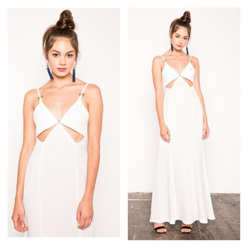 Stone Cold Fox White Cutout Crepe Gown Long Formal Dress Size 8 (M ...