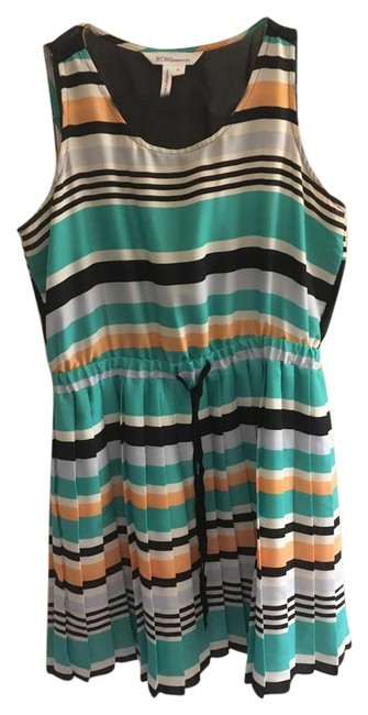Preload https://img-static.tradesy.com/item/21246983/bcbgmaxazria-turquoise-striped-silk-pleated-with-tie-waist-short-cocktail-dress-size-6-s-0-2-650-650.jpg