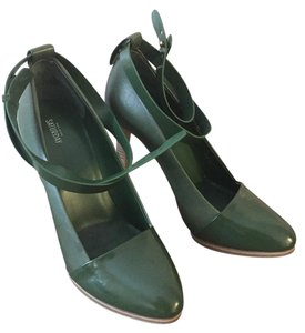 Kate Spade Wooden Heel Leather Green Olive Ankle Strap moss green Pumps
