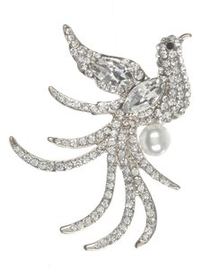 Silver/Pearl Pave Crystal Stone Metal Bird Brooch/Pin