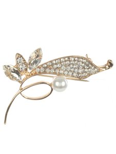 Gold Pave Crystal Stone Metal Bird Brooch/Pin
