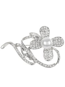 Silver Pave Crystal Stone Metal Flower Brooch/Pin