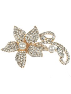 Gold Pave Crystal Stone Metal Flower Brooch/Pin