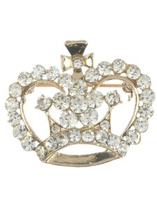 Golg Pave Crystal Stone Crown Metal Brooch/Pin