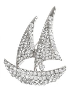 Silver Pave Crystal Stone Sailboat Metal Brooch/Pin