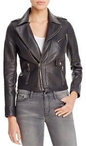 Maje Anthracite Leather Jacket