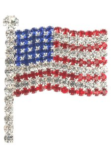 Silver Color Crystal Stone American Flag Brooch/Pin