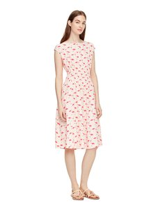 Kate Spade Boat Neck Silk Sleeveless Fit And Flare Dress