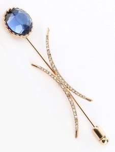 Gold Glass Stone Metal Setting Brooch/Pin
