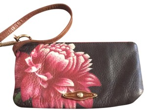 Elliott Lucca Wristlet in black with large flower on front