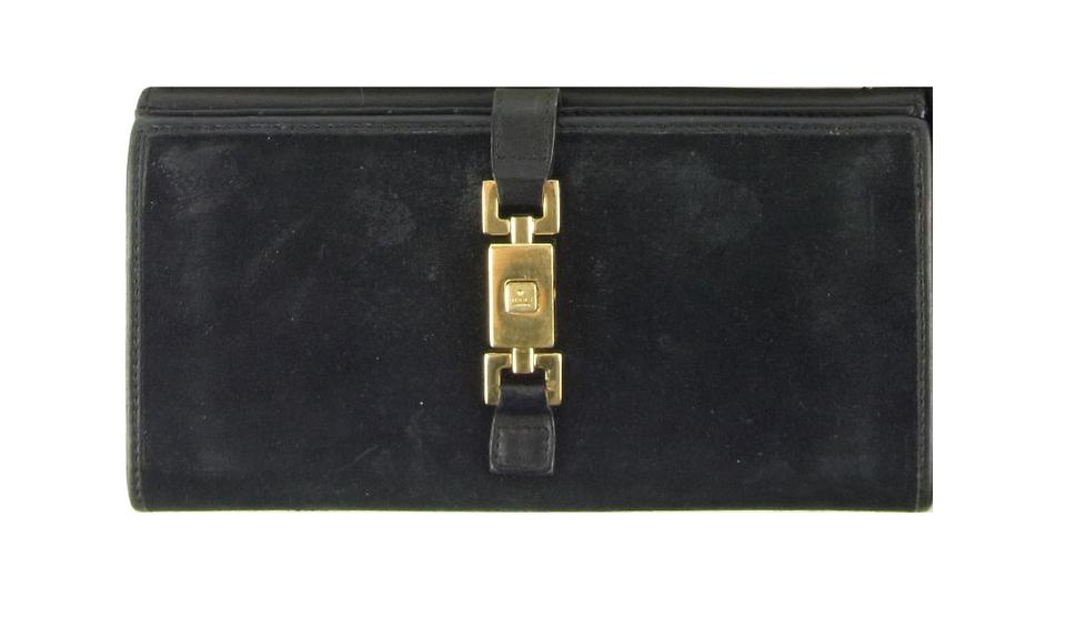 96077733aad Gucci Black Suede   Leather with  jackie O  Style Center Closure ...