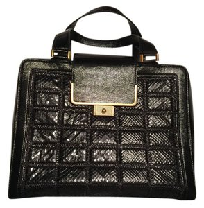 Jimmy Choo Exotic Elaphe Satchel in Black