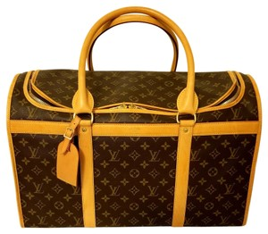 Louis Vuitton Sacchien Dog Pet Carrier Luggage Brown Leather Travel Bag