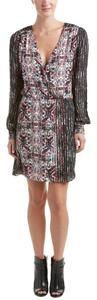 Parker Silk Print V-neck Elastic Waistband Longsleeve Dress