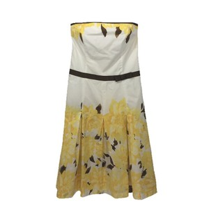 Speechless short dress WHITE/ YELLOW/ BROWN Floral Strapless A-line Spring on Tradesy
