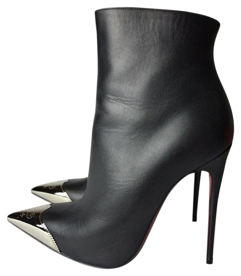Christian So Louboutin Black Calamijane Leather So Christian Kate Ankle 36 Boots/Booties c219a6
