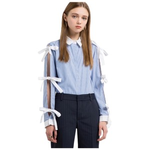 Other Bow Tie Sleeve Button Down Top Blue & White