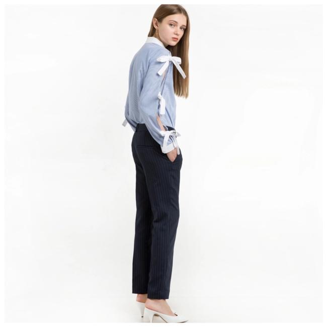 Other Bow Tie Sleeve Button Down Top Blue & White Image 1