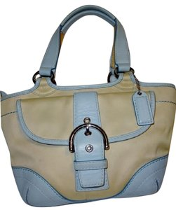 Coach Tote in Cream & Blue