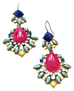 J.Crew vacation style long color stone earrings