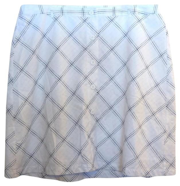Item - White Checked Cotton A-line Skirt Size 20 (Plus 1x)
