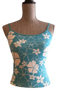 Cotton Summer Top Turquoise and White