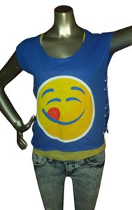 Gildan Emoji Sleeveless Safetypin Pinitfashions T Shirt Blue