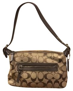Coach Monogram Leather Handbag Canvas Baguette