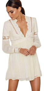 Free People Longsleeve V-neck Detail Embroidered Crochet Dress