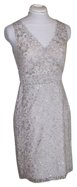 Item - Silver Lace Mid-length Short Casual Dress Size 2 (XS)