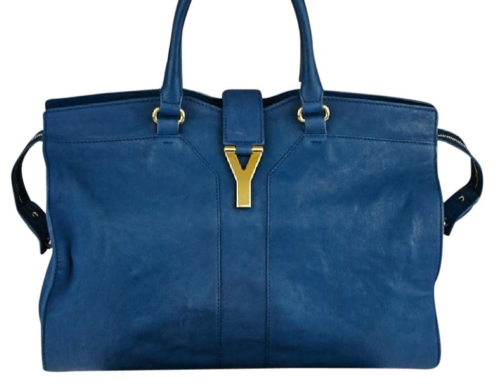 d67b6a40 Saint Laurent Cabas ChYc Ysl Blue Leather Tote 33% off retail
