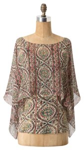 Anthropologie Caped Mosaic Tiny Silk Top MULTI