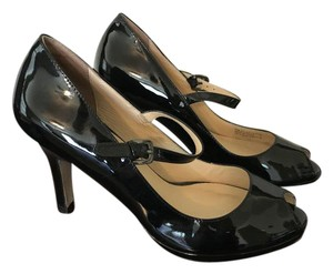 Cole Haan Mary Jane Peep Toe Ankle Strap Patent Leather Black Pumps