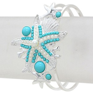 Turquoise Pearl Accent Silvertone Starfish Bracelet Bangle