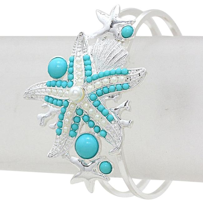 Silver Tone Turquoise Pearl Accent Starfish Bangle Bracelet Silver Tone Turquoise Pearl Accent Starfish Bangle Bracelet Image 1