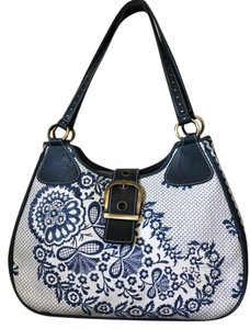 Isabella Fiore Blue Leather Tote Shoulder Bag