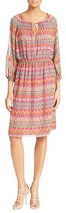 Diane von Furstenberg short dress red/pink/green/blue/brown/yellow/orange Floral Flowy Sheer on Tradesy