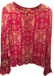 Tory Burch Silk Long Sleeve Top Pink