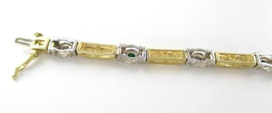 Other 14KT SOLID YELLOW WHITE GOLD EMERALDS 5 DIAMONDS BRACELET BANGLE 19.9 GRAMS