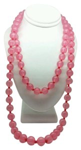 Elle Cross NEW PRETTY PINK 10MM LUCITE BEAD STRAND NECKLACE 36