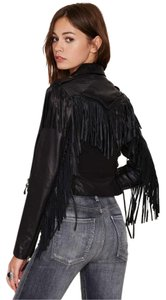 Capulet Fringe Zippered Cropped Leather Jacket