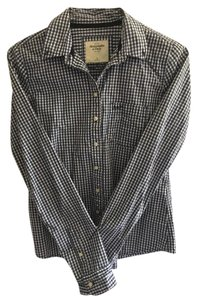 Abercrombie & Fitch Checkered Button-up Preppy Preshrunk Button Down Shirt White and Blue