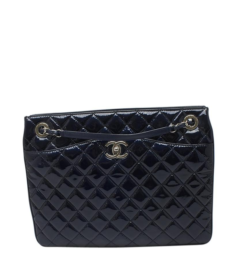 Chanel Patent Leather Tote In Blue