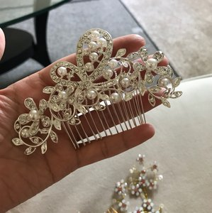 Tiara Hair Comb Prom Assessory Jury Bridal Rhinestone Crystal White Fine Leave Lower