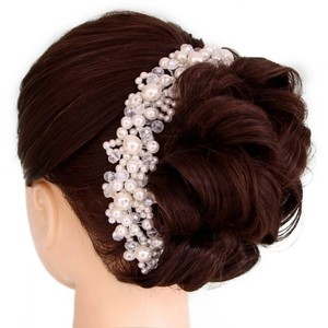 Pearl Cluster Rhinestone Silver White Ivory Hair Comb Bendable Flexible Tiara