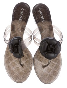 Chanel Camellia Glitter Silver Hardware Interlocking Cc Jelly Black, Silver Sandals