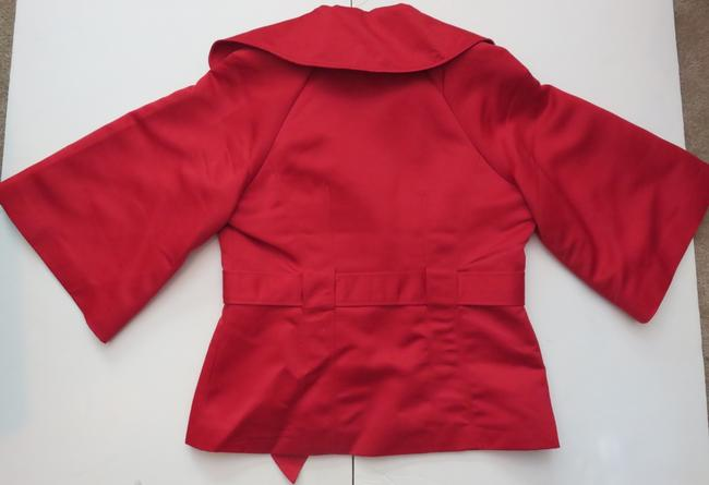 Victor Costa New Victor Costa Red Satin Dressy Design Belted Blazer Jacket Size XS