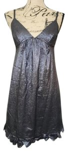 Rebecca Taylor Silver Empire Waist Ruffle Metallic Shift Dress
